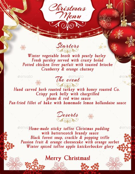 christmas menu layout template 19 christmas menu template free sle exle format