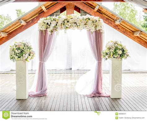 Wedding Arch Curtains by Floral Wedding Arch Of Roses And Lillies Stock Image