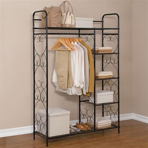 5 tier metal closet with hanging rod storage solutions