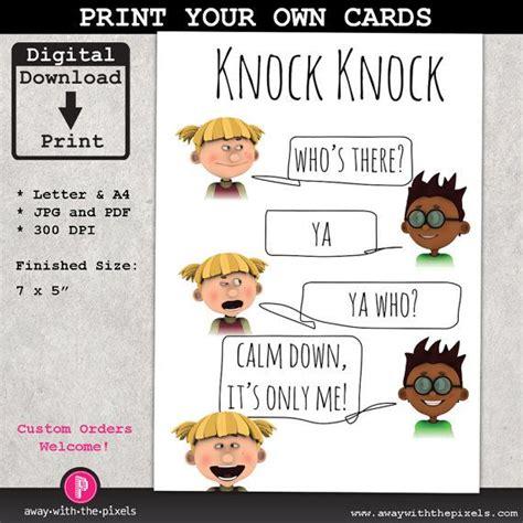 Jokes Printable Pdf | knock knock ya who joke greeting card for kids instant