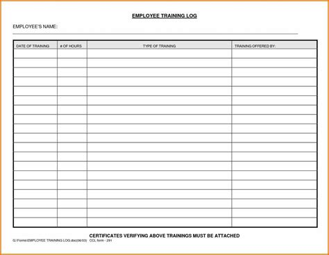 apprenticeship template employee log sle templatex1234