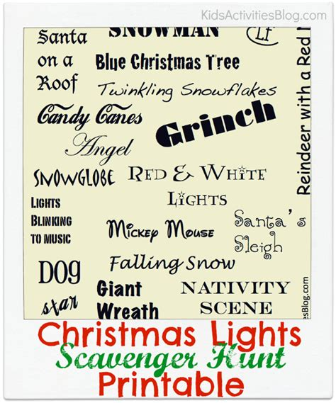 printable christmas light scavenger hunt printable christmas games go on a holiday scavenger hunt