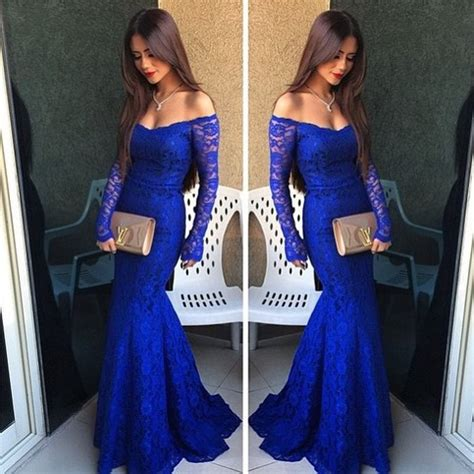 royal blue lace prom dress simple   shoulder prom