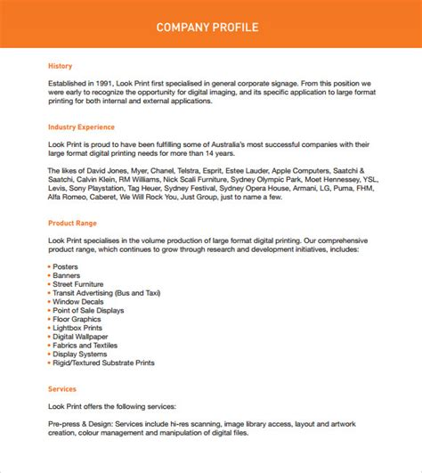 business profile templates sle company profile sle 7 free documents in pdf word
