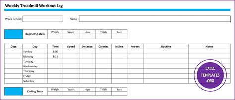 weekly treadmill workout log template excel templates