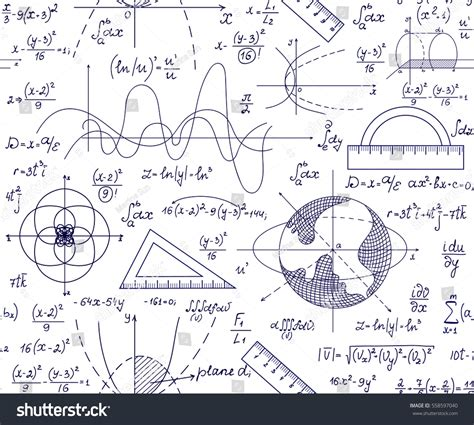 pattern math formula hand drawn mathematical vector seamless pattern stock
