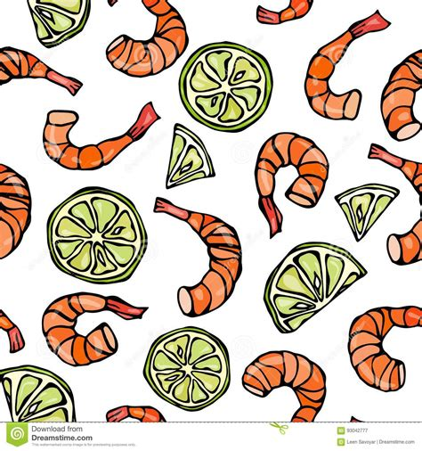 seamless pattern hand drawn seafood seafood seamless pattern shrimp or prawn and lime