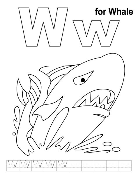Free W Coloring Pages by W For Whale Coloring Page With Handwriting Practice