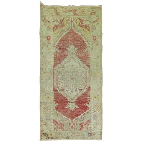 shabby chic oushak throw runner for sale at 1stdibs