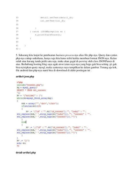 membuat file json mengakses data dari database my sql di listview dengan json