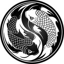 Wall Stickers Cherry Blossom quot black and white yin yang koi fish quot stickers by jeff