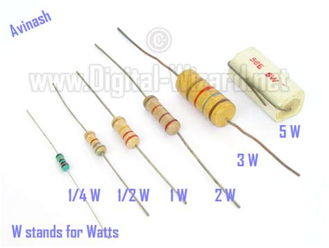 resistor wattage rating size resistors practical electronics tutorials digital wizard