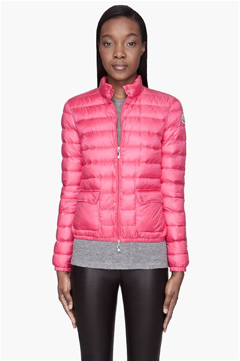 light pink moncler jacket lyst moncler fuchsia pink quilted down lans jacket in pink