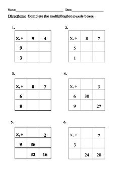 Multiplication Boxes Worksheets by Grade 3 Multiplication Division Puzzle Boxes 4 Worksheets