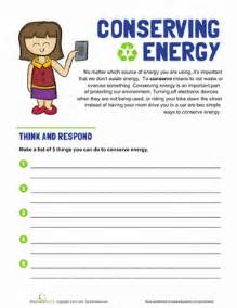 conserving energy worksheet education com