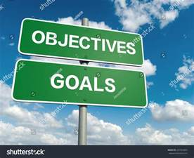 a road sign with objectives goals words on sky background