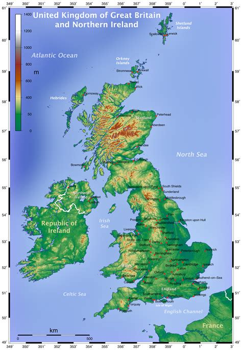 geographical map of geography map of uk united kingdom detailed