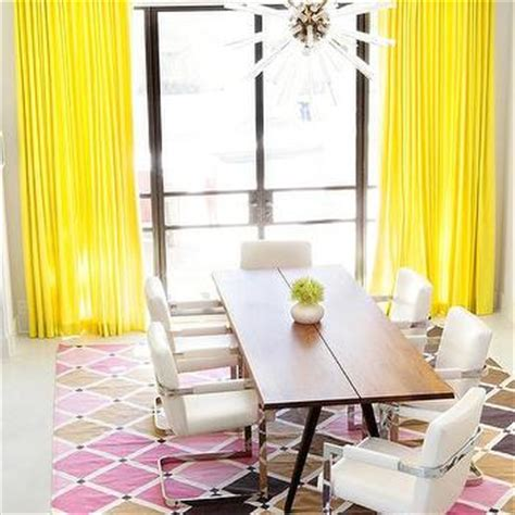 canary yellow curtains white office with black and white zebra wingback chairs