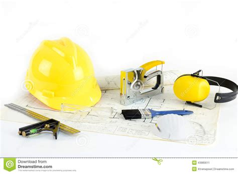 house plan tool house plan hardhat and tools stock photo image 43985611