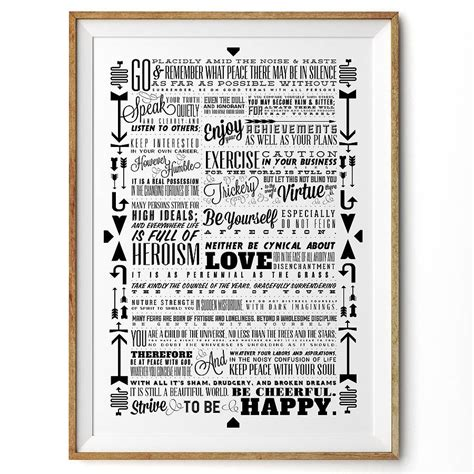desiderata retro typography art print by rock the