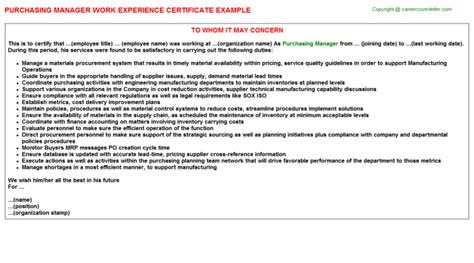 certification letter for purchase experience certificate sle for purchase manager choice