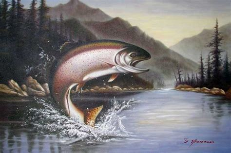 rainbow trout jumping fishing lake mountains painting in