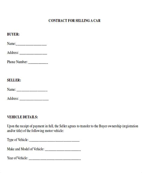 contract template for selling a car privately sle car sales contract 12 exles in word pdf