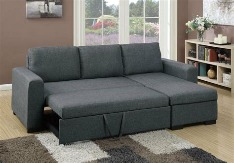sectional sofa pull out bed modern 2 pcs sectional sofa pull out bed seat storage blue grey polyfiber ebay