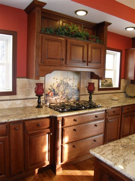 kitchen traditional kitchen other by hermitage vibrant cherry kitchen with granite countertop