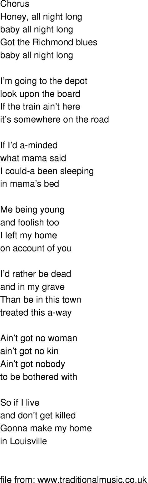 song in time song lyrics richmond blues