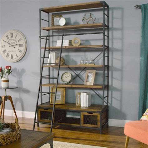 metal ladder bookcase wood and metal bookcase with ladder world market
