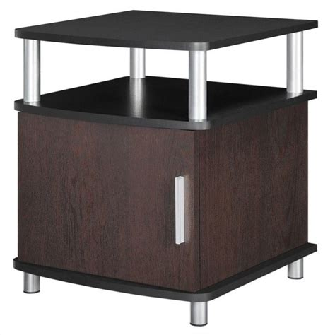 Accent Table With Storage End Table With Storage In Cherry And Black 5083196