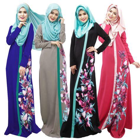 Dress Gamis Muslim Wanita Big Flower 2 m xl 3d printing flower muslim dress islamic