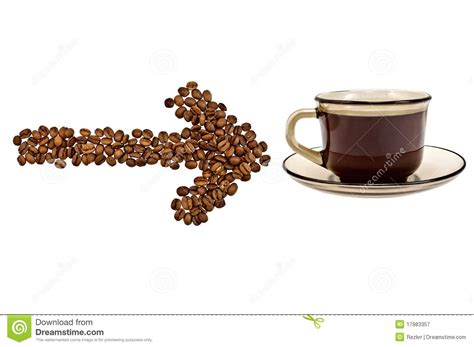 Coffee Bean Gift Card Free Drink - arrow from the coffee beans with a cup of drink royalty free stock photography image
