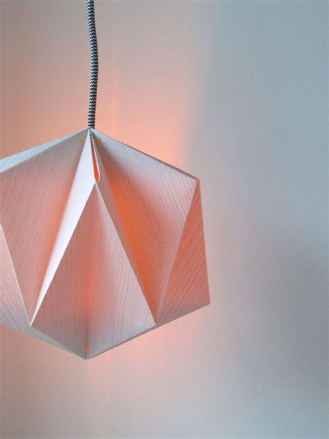 How To Make A Paper Light Bulb - origami lshade made from wallpaper