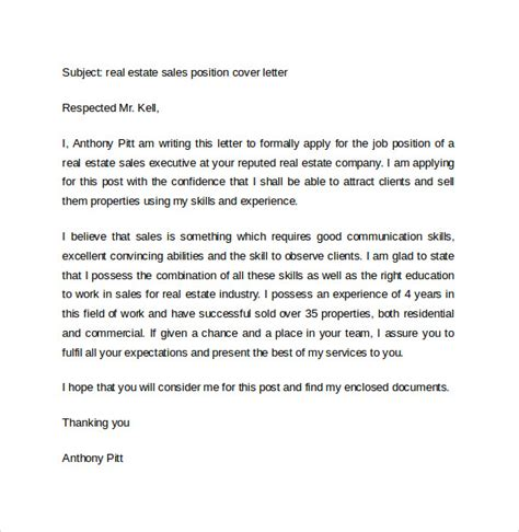Real Estate Cover Letter Sles sales cover letter template 8 free sles exles