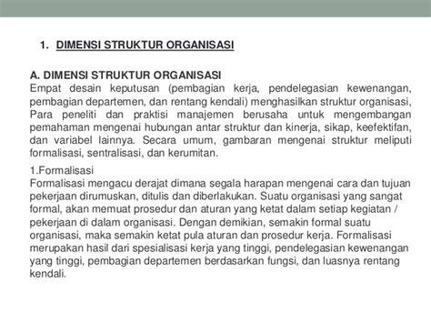 dimensi struktur dan desain organisasi desain dan struktur organisasi