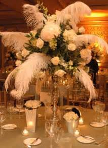 feather and flower centerpieces i do inspiration floral friday vintage deco theme