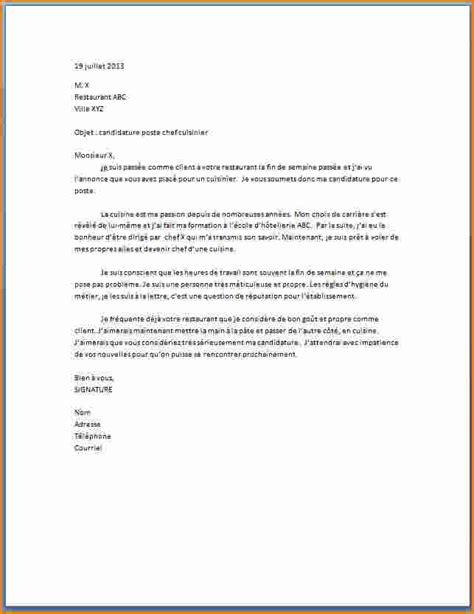 lettre cuisine 5 exemple lettre de motivation cuisinier exemple lettres