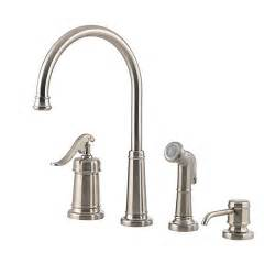 pfister gt26 4ypk ashfield 4 hole kitchen faucet with sidespray and matching soap dispenser