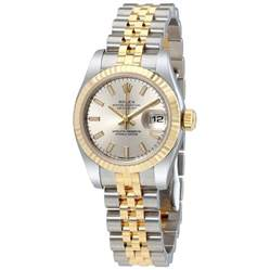 rolex datejust silver index jubilee bracelet two tone
