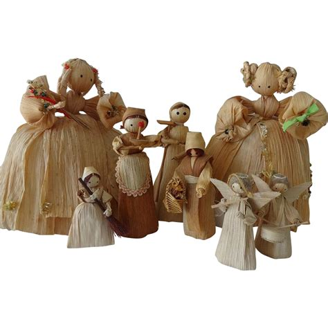 corn husk dolls in colonial times corn husk doll collection from nuffsstuff on ruby