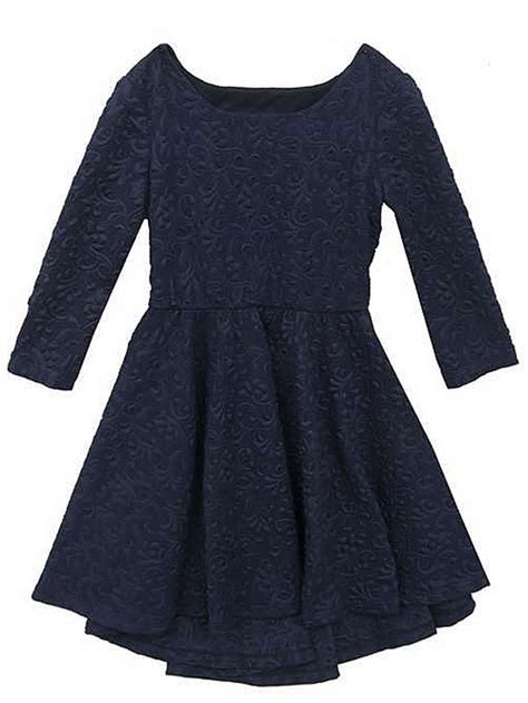 Knit Princess Dress Navy editions navy textured knit high low dress w cutout back