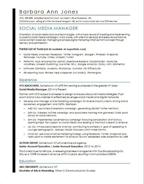 Social Media Manager Resume by Social Media Resume Sle