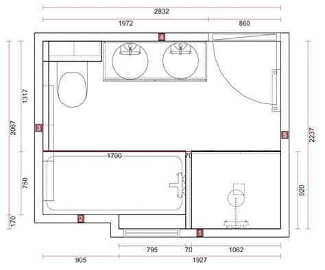 plan salle de bain con idee et baignoire und