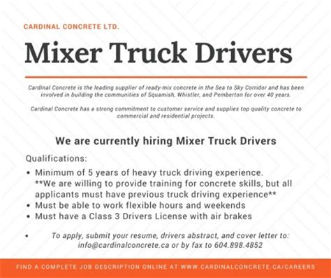 Description Truck Driver by Careers Cardinal Concrete Ltd Squamish Bc
