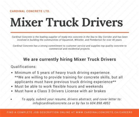 Commercial Truck Driver Description by Careers Cardinal Concrete Ltd Squamish Bc