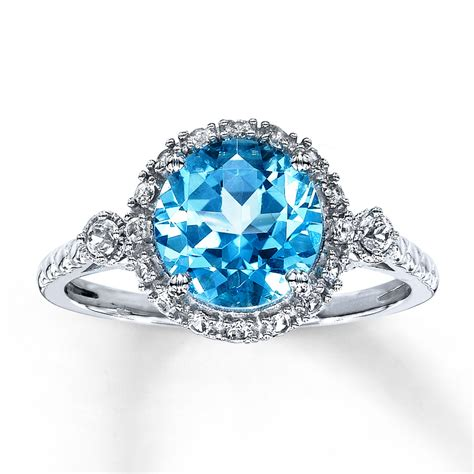 blue topaz ring lab created sapphires 10k white gold