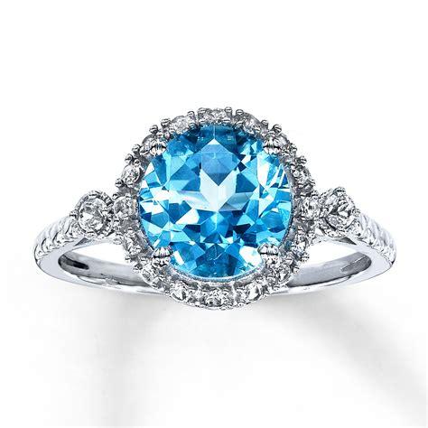 blue topaz ring lab created sapphires 10k white gold