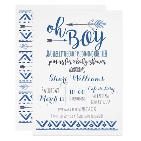 Boy Baby Shower Invitations by Oh Boy Tribal Baby Shower Invitation Zazzle